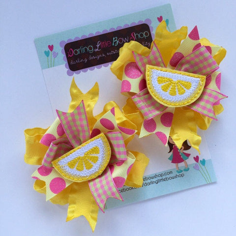 Lemonade hairbows, lemon pigtail bows - Darling Little Bow Shop