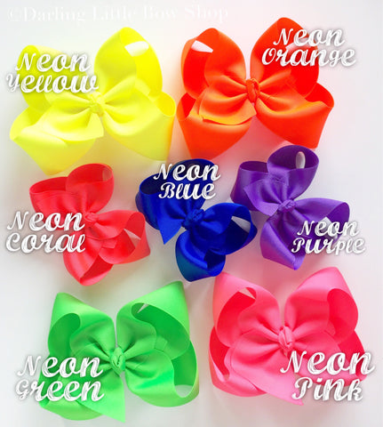 "Neon Hairbow, CHOOSE from 7 neon colors yellow, coral, green, pink, blue, purple, orange 3"" 4"" 5"" or 6"" bow - Darling Little Bow Shop"