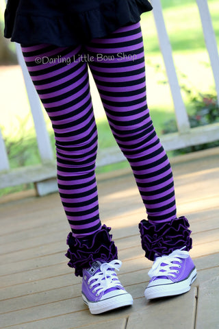 Purple and Black Halloween Ruffle Leggings - Witch Way To The Party - Darling Little Bow Shop