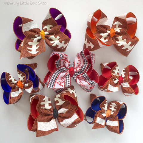 "Football bow, football hairbow -- choose your team colors, 5"" or 6-7"" bow - Darling Little Bow Shop"