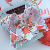 Floral HairBow -- peach, coral and gold floral hairbow - Darling Little Bow Shop