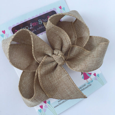 Burlap Bow - burlap look tan hairbow choose 4 inch or 5 inch bow - Darling Little Bow Shop