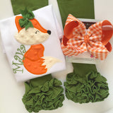 Pumpkin Gingham hairbow - Darling Little Bow Shop