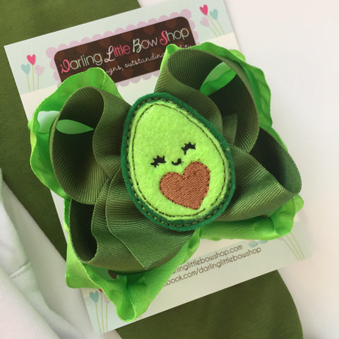 "Avocado Bow, Avocado Hairbow 5"" double bow - Darling Little Bow Shop"