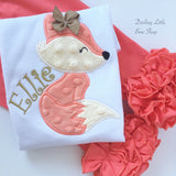 Fox bodysuit or shirt for girls -- Woodland Friend -- fuzzy fox bodysuit or shirt with in coral and autumn gold - Darling Little Bow Shop