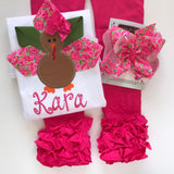 Lily Turkey shirt made to match Lily Pulitzer, pink roses ribbon - Darling Little Bow Shop