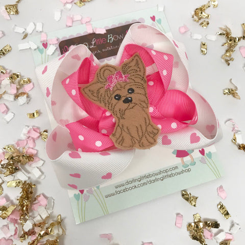 Puppy Bow, Yorkie bow, puppy hairbow in pink and hot pink - Darling Little Bow Shop
