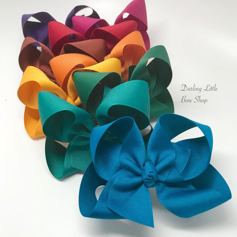HairBow Set -- Autumn Collection -- 9 colors, choose 3, 4, 5, 6 or 7-8 Inch bows - Handmade in Tennessee - Darling Little Bow Shop