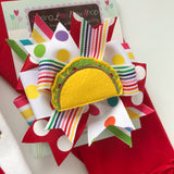 Taco bow, Taco Tuesday Hairbow -- Fiesta hairbow in bright, rainbow colors - Darling Little Bow Shop