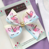 Unicorn Bow, small unicorn hairbow in pastel pink, purple, blue and gold pigtail set option - Darling Little Bow Shop
