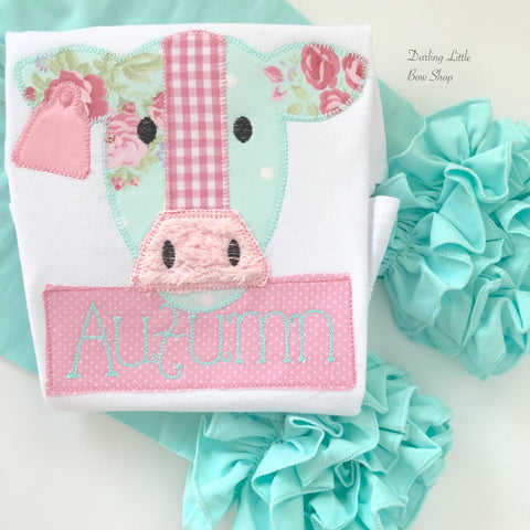 Floral Cow shirt or bodysuit for girls -- sweet floral cow theme shirt for girls in pink and mint - Darling Little Bow Shop