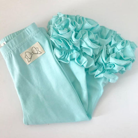 Ice Mint Ruffle Leggings - Mint Ruffle Leggings - gorgeous knit ruffle leggings - size NB to 10 with FREE SHIPPING - Darling Little Bow Shop