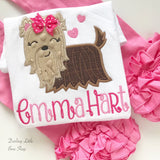 Yorkie shirt or bodysuit for girls -- Puppy Princess -- Yorkie Valentine shirt in pretty pinks with her name - Darling Little Bow Shop