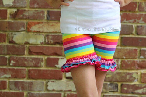 Rainbow Ruffle Shorties sizes 6m to girls 12 - Darling Little Bow Shop