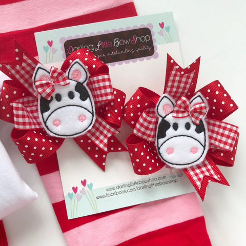 Valentine Bows -- I love Moo --  cow hairbows, Pigtail Bow Set for Valentines Day - Darling Little Bow Shop