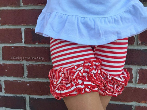 Red and White Ruffle Shorts,  Striped Ruffle Shorts - Darling Little Bow Shop