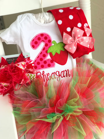 Strawberry Birthday Outfit -- A Berry Sweet Birthday -- bodysuit, leg warmers, tutu, bow in pink, red and green - Darling Little Bow Shop