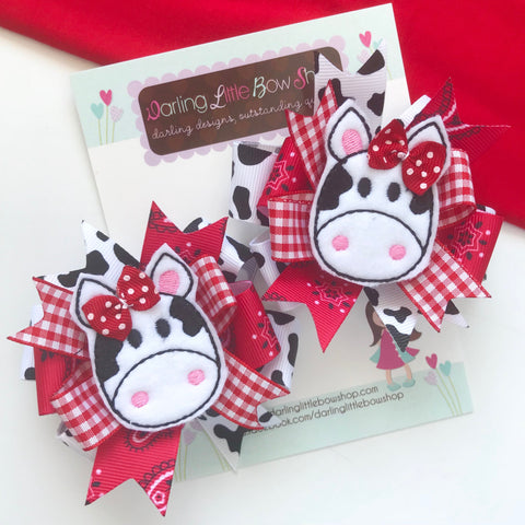 Cow Bows, cow hairbows, Pigtail Bow Set for cow lovers - Darling Little Bow Shop