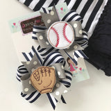 Baseball Bows -- Baseball Pigtail Bow Set in your team colors - Darling Little Bow Shop