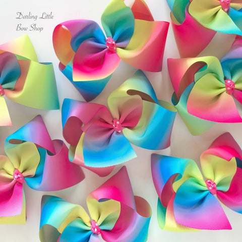 "Rainbow Bow, rainbow hairbow in ombre rainbow colors choose 4-5"" or 6-7"" - Darling Little Bow Shop"