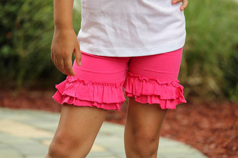 Hot Pink Ruffle Shorties, Hot Pink Ruffle Shorts - knit ruffle shorties sizes 6m to girls 10 - Darling Little Bow Shop
