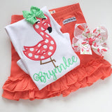 Coral Ruffle Shorties, Coral Knit Ruffle Shorts - Darling Little Bow Shop