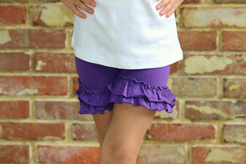 Purple Ruffle Shorties, Grape Ruffle Shorts - Darling Little Bow Shop