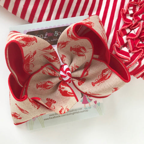 "Crawfish Bow, Crawfish hairbow in red and burlap look ribbon  - choose 4-5"" or 6"" - Darling Little Bow Shop"
