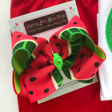 "Watermelon bow -- 6"" Large hairbow with optional headband -- red and green watermelon-m - Darling Little Bow Shop"