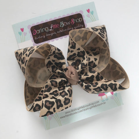 "Leopard Bow -- beautiful boutique bow made with leopard print ribbon in tans and browns, choose 3"" 4"" 5"" 6"" or 8"" bow - Darling Little Bow Shop"