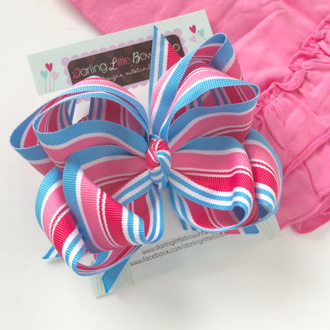 Pink and Blue big sister hairbow -- double stacked hairbow in pink and blue ribbon - Darling Little Bow Shop