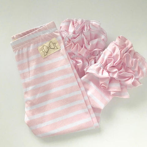 Ice Pink Striped Ruffle Leggings -Ice  Pink Ruffle Leggings - gorgeous knit ruffle leggings - size NB to 10 with FREE SHIPPING - Darling Little Bow Shop