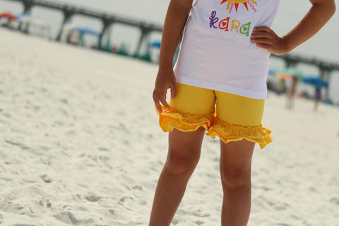 Yellow Ruffle Shorties, Girls Yellow Ruffle Shorts - Darling Little Bow Shop