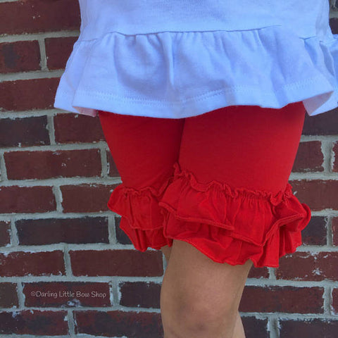 Red Ruffle Shorties, Girls Ruffle Shorts - Darling Little Bow Shop
