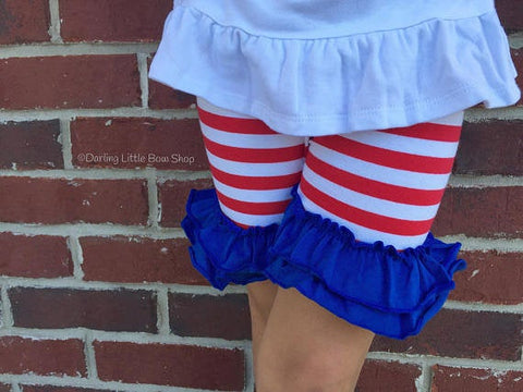 Star Spangled Ruffle Shorties, Red White and Blue Ruffle Shorts - knit ruffle shorties sizes 6m to girls 10 - Free Shipping - Darling Little Bow Shop