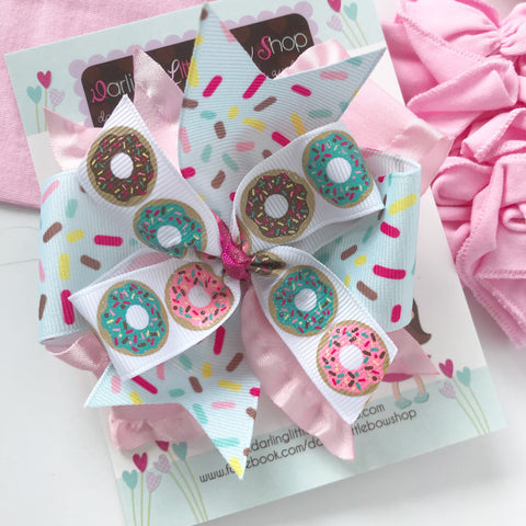 Donut Hairbow in pastel colors, optional headband - Darling Little Bow Shop