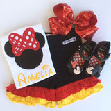 Classic Minnie red, yellow, black ruffle shorties - Darling Little Bow Shop