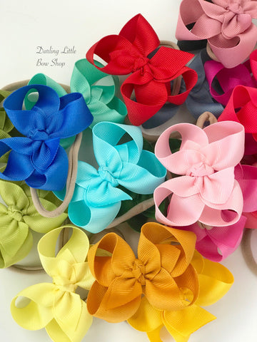 "Nylon Bow Headband set of 5 colors, Bows on nude headbands -- CHOOSE bow colors -- basic 3"", 4"" , 5"" or 6"" bow with many color choices - Darling Little Bow Shop"