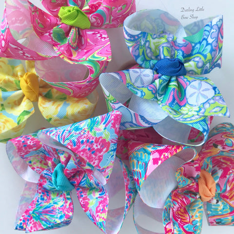 "Lilly Pulitzer inspired bows hairbows 6 prints available -- choose 4"", double stacked or 7"" bows -- AMAZING quality handmade in Tennessee - Darling Little Bow Shop"