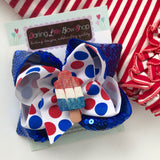 Bomb Pop bow, Popsicle Bow in sparkly red, white and blue - Darling Little Bow Shop
