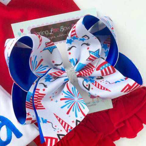 "Unicorn Bow for 4th of July, unicorn hairbow in red, white and blue choose 4-5"" or 6"" - Darling Little Bow Shop"