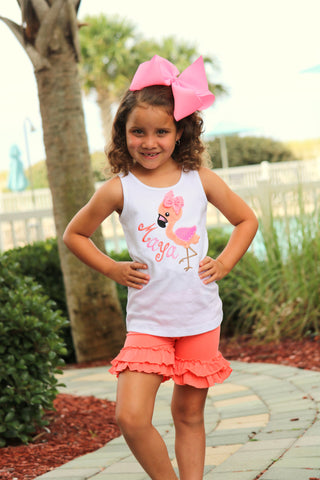 Flamingo shirt, tank top or bodysuit for girls in pink and coral - Darling Little Bow Shop