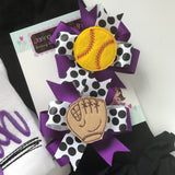 Softball Bows -- Softball Hairbow Set --  Pigtail Bow Set in your team colors - Darling Little Bow Shop