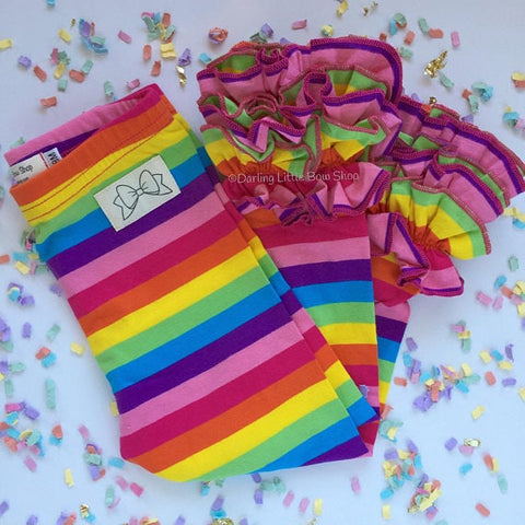 Rainbow Ruffle Leggings - Rainbow Icings Ruffle Leggings - gorgeous knit ruffle leggings - size NB to 10 with FREE SHIPPING - Darling Little Bow Shop