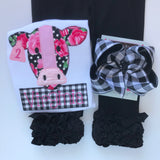 "Buffalo Plaid hairbow -- 6"" or 4-5"" Large hairbow with optional headband -- white and black buffalo plaid - Darling Little Bow Shop"