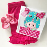 Floral Pig shirt or bodysuit for girls in bright pink and aqua blue - Darling Little Bow Shop