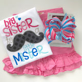 Big Sister to a little Mister shirt in pink and blue - Darling Little Bow Shop