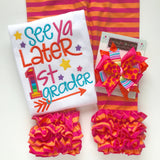Summer Sherbert Ruffle capris - Orange and Hot Pink striped knit ruffle capris - Darling Little Bow Shop