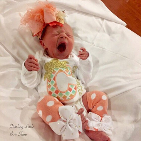Newborn Coming Home Outfit in peach, mint and gold - Darling Little Bow Shop