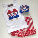 Bomb Pop Girls shirt, tank or bodysuit for 4th of July, Sparkly Bomb Pop - Darling Little Bow Shop